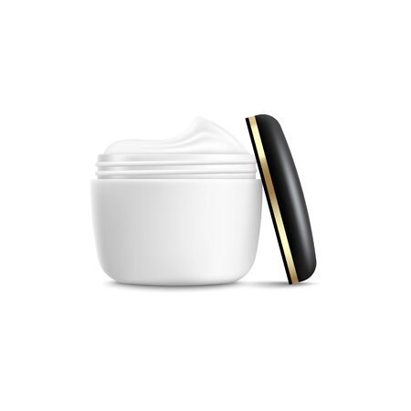 White cream jar with open black and gold lid, realistic mockup of face skincare moisturiser with blank copy space, beauty product packaging template - isolated vector illustration