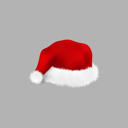 Red Santa hat - realistic isolated vector illustration. Fluffy warm Christmas and New Year symbol isolated on grey background, winter holiday costume wear element Ilustracja