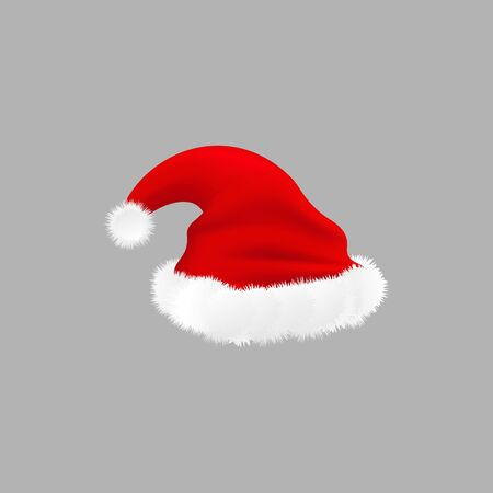 Realistic Santa hat isolated on grey background - red cap with white fluffy lining for Christmas holiday costume, New Year celebration symbol - vector illustration
