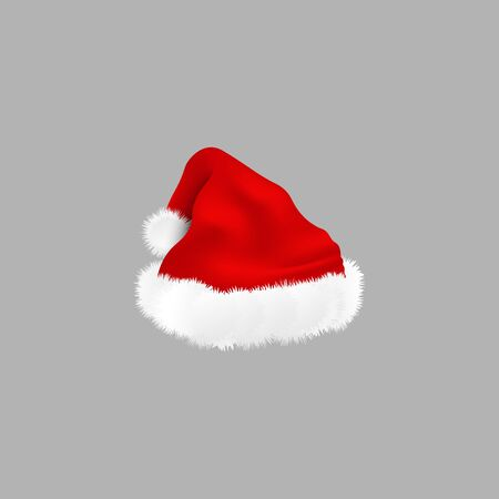 Cartoon Santa Claus red traditional hat vector illustration isolated on transparent background. Perfect for photo booth or Christmas and New Year cards and banners.