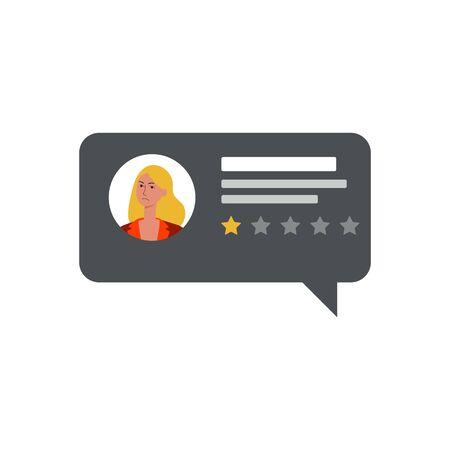 Negative comment and low rating feedback from a woman client. Customer upset, one star bad rating, flat isolated vector illustration.