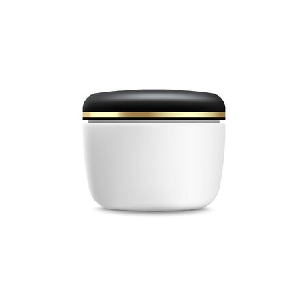 Moisturiser cream jar mockup. Realistic white plastic container with closed black and gold lid for beauty product with blank space for packaging design, isolated vector illustration Ilustração