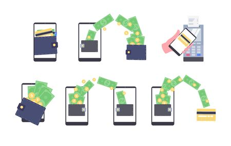 Mobile wallet money transaction set - flat cartoon smartphone with dollar bill and gold coin symbols showing wireless terminal payment, fund transfer and withdrawal - isolated vector illustration Illustration