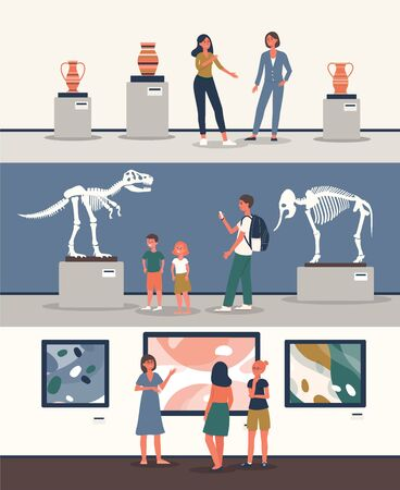 Set of banners with tourists watching dinosaur skeleton and other exhibits at historical or art museum excursion the flat vector illustration isolated on white background.