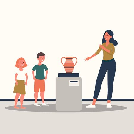 Cartoon family at a museum looking at a vase, adult woman telling children about old exhibit in gallery, cartoon people spending time together at art exhibition, isolated flat vector illustration