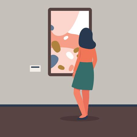 Female art exhibition or gallery visitor viewing picture from museum collection the flat vector illustration. Culture and education, leisure and tourism banner concept. Иллюстрация