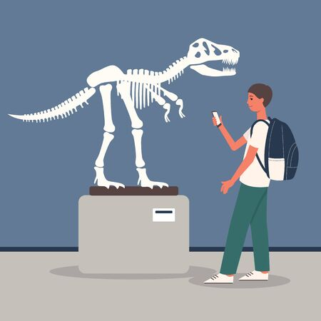 Young man at archeology museum exposition room with Tyrannosaurus dinosaur skeleton the cartoon flat vector illustration. Historical education and tourism concept. Illustration