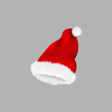 Christmas Santa Claus hat vector illustration isolated on grey background. Red silky fabric cap with fluffy white fur falling in air, New Year holiday season clothing accessory. Illusztráció