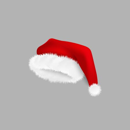 Isolated Santa Claus costume hat with realistic white fur and silky red fabric. Christmas celebration accessory and New Year winter holiday season symbol - vector illustration. Иллюстрация