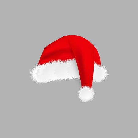 Cute Santa hat with realistic white fur texture isolated on grey background, red cartoon cap for Chrismas celebration party costume or holiday season symbol, vector illustration