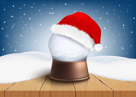 Crystal ball the traditional christmas souvenir and red Santa Claus hat winter banner vector illustration background. Template For Xmas and New Year holiday decoration.