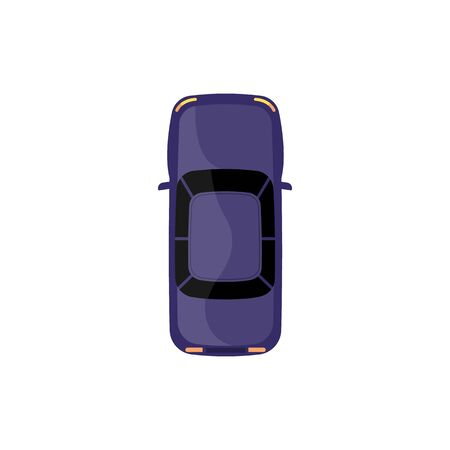 Auto vehicle or car top view cartoon the flat vector illustration isolated on white background. City automobile transport element for computer games and mobile apps. Stock Illustratie