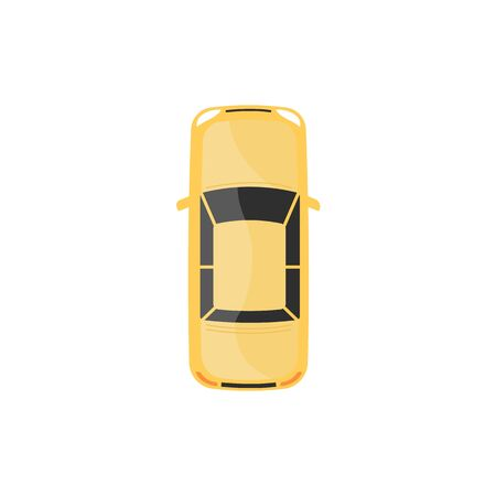 Yellow automobile or car top view cartoon vector illustration isolated on white background. Urban vehicle for citizens transportation icon to use in apps and city design.