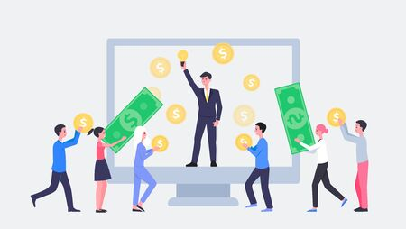 Crowdfunding concept banner or landing page for business startup idea and investment, flat vector illustration isolated on white background. Money and capital raising. Иллюстрация