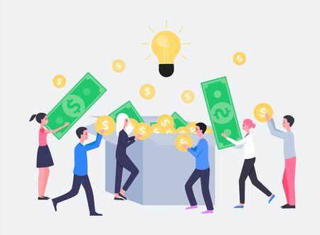 흰색 배경에 고립 된 만화 사람들 캐릭터 평면 벡터 일러스트와 함께 크라우드 펀딩 또는 시작 투자 개념. 돈을 기부하고 아이디어를 지원하는 프로젝트.