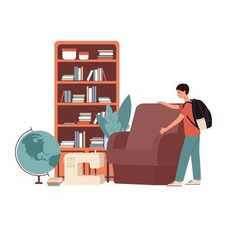 Cartoon man at flea market garage sale picking a brown chair, student boy buying or selling old second hand furniture at bazaar - isolated flat vector illustration on white background Ilustracja