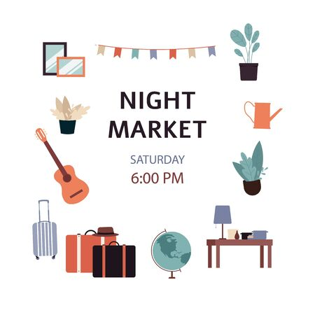 Night market - second hand street shop poster ad, isolated text template with furniture and house plants on white background, cartoon flat vector illustration Archivio Fotografico - 129267002