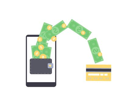 Online money withdrawal from mobile wallet on smartphone, cartoon dollar bills and coins flying from phone screen to credit card, Internet business income stream - flat vector illustration 일러스트