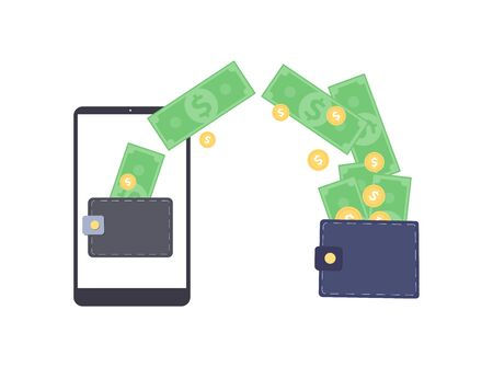 Digital wallet and e-commerce concept flat vector illustration isolated on white background. Mobile banking and online finance banner template for mobile apps and web. Illustration