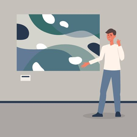 Male art exhibition or gallery visitor viewing picture from museum collection cartoon flat vector illustration. Culture and leisure time or tourism concept.