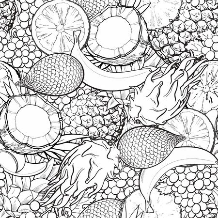 Seamless pattern with various tropical exotic fruits engraving black and white sketch style vector illustration. Botanical plants and foods decorative background.