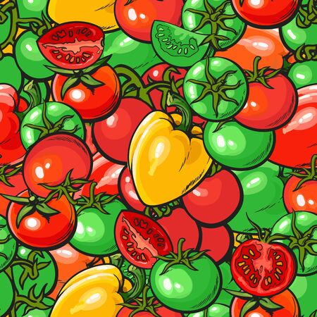Seamless vegetables pattern with red and green tomato and pepper vector illustration. Background design for vegetarian organic food package and textile prints.