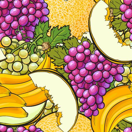 Colorful fruit seamless pattern - green and purple grapes, melon, banana background in hand drawn cartoon style, healthy nature food art drawing vector illustration