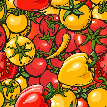 Seamless vegetables pattern with red and yellow tomato and pepper vector illustration. Background design for vegetarian organic food package and kitchen textile prints.
