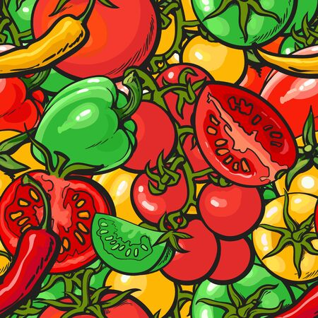 Seamless vegetables pattern or endless background with red and yellow tomato and pepper vector illustration. Design for organic food package and fabric textile prints. 일러스트