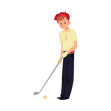 Teenager boy in red cap playing golf flat cartoon vector illustration isolated on white background. Sports active kid golfer character icon for golf club and gaming events.