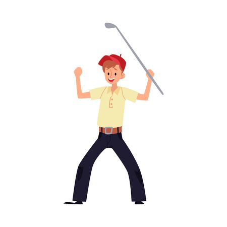 A man golfer rejoices in victory and raised his hands with a stick or club. Isolated vector cartoon flat golfer or golf player illustration.