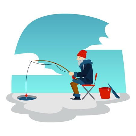 Winter fishing with fisherman cartoon character with a rod sitting on ice flat vector illustration on a polar background. Winter sport activity and leisure concept.