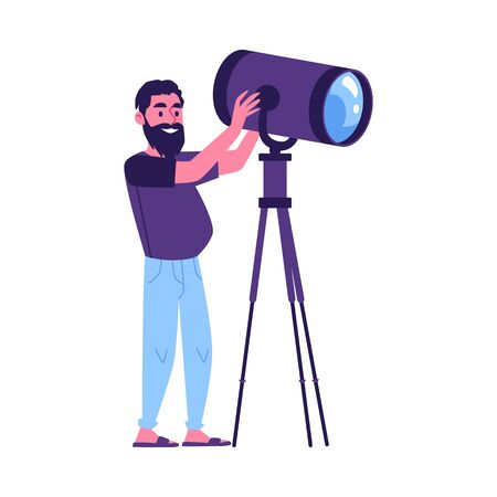 News program show or film producing crew member the professional cameraman or operator shooting the cartoon character flat vector illustration isolated on white background. Illusztráció