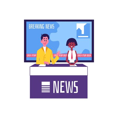 News show hosts or reporters Caucasian man and African American women characters in television broadcast studio flat vector illustration isolated on white background. Ilustração