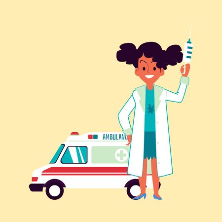 A cute little african american girl doctor is standing in front of an ambulance and holding a thermometer. Child profession concept, ambulance doctor and first aid, flat vector cartoon illustration.
