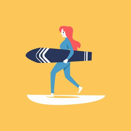 Surfer woman cartoon character carrying surfboard and sea wave flat vector illustration isolated on yellow background. Design or logo element for water extreme sport kinds.
