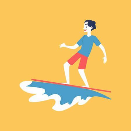 Man cartoon character surfing and sea or ocean wave splash, flat vector illustration isolated on yellow background. Design element for water extreme sport kinds.