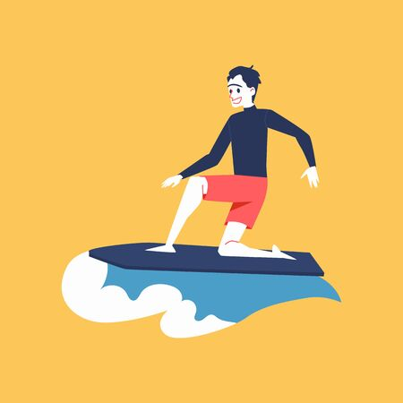 A man surfer rides in the wave and surfs. A man is riding a surfboard, flat vector illustration.