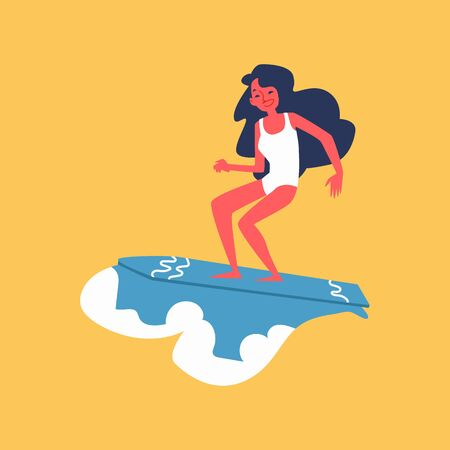 Young girl riding a wave on surfboard, cartoon surfer woman standing and balancing on blue surf board - isolated flat vector illustration. Summer vacation sport activity. Ilustrace