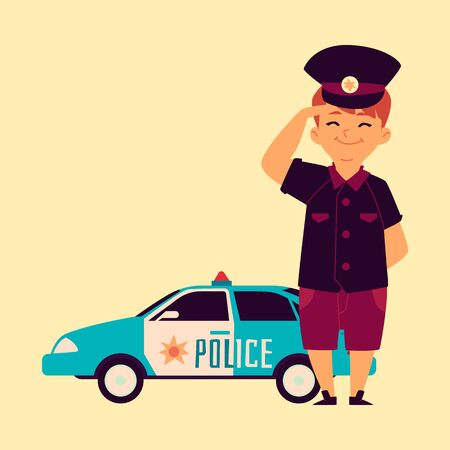 A little boy in a police cap is standing at the police and patrol car. Child profession concept, policeman boy, flat and cartoon vector illustration.
