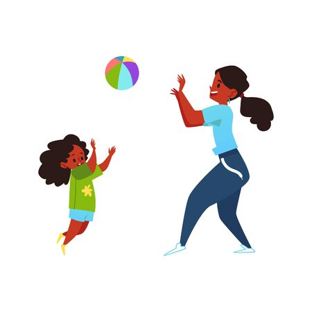 Parents and children concept with cartoon characters of an african american mother and her child girl playing ball flat vector illustration isolated on white background.