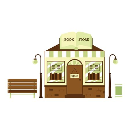 Book store building exterior - cute cartoon shop facade with bookshelves and small bench. Isolated bookstore storefront - flat vector illustration on white background 向量圖像