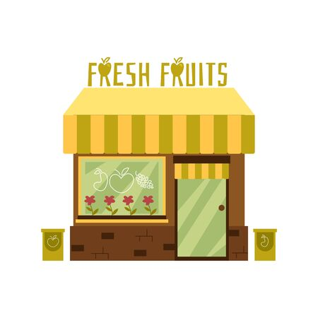 Facade of a cute fresh fruit store with an awning. Front of the storefront and building with a showcase. Isolated flat cartoon vector illustration.