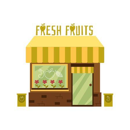 Fachada de una linda tienda de fruta fresca con toldo. Fachada de la tienda y edificio con escaparate. Ilustración de vector de dibujos animados plano aislado.