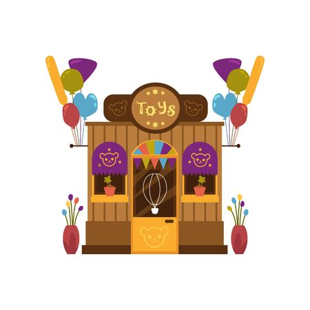 Front view of toy shop or toy store facade decorated with gift boxes, balloons and toys flat vector illustration isolated on white background. Children toy shop building. Illusztráció