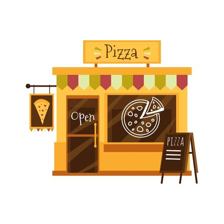 Pizza shop building or pizzeria facade flat cartoon vector illustration isolated on white background. Street small restaurant or cafe italian food front view icon. Stockfoto - 130029090