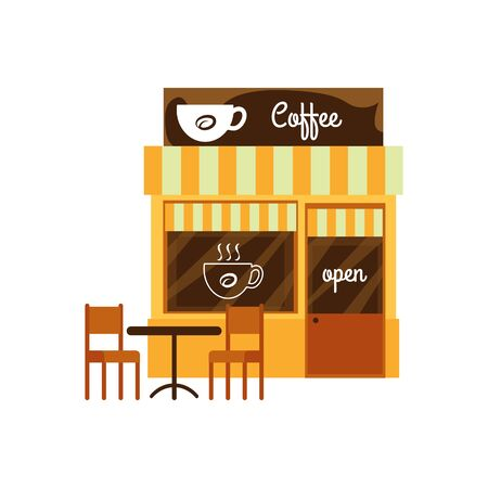 Facade of a coffee shop, cute cafe and restaurant, front of store and building, isolated flat cartoon vector illustration. Illustration