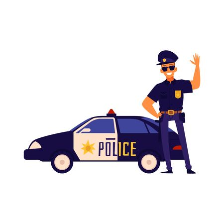 Happy policeman standing next to police car. Friendly cartoon character man in blue uniform waving his hand, isolated flat vector illustration on white background