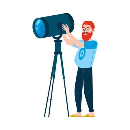 A red haired bearded caucasian man controls lighting equipment. A male lamp operator is engaged in tv or television, film, news or media coverage. Isolated flat cartoon vector illustration. Ilustração