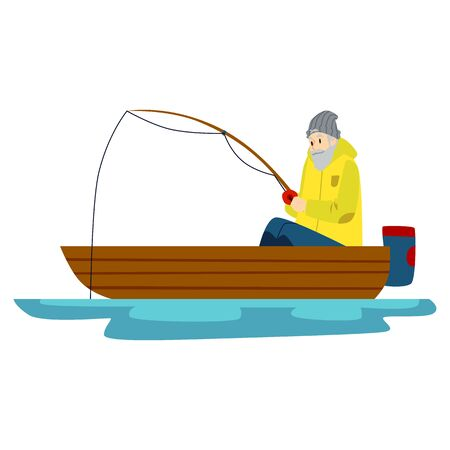 A male fisherman with a bread is fishing on a lake or river. An old man fishing in a boat. Isolated vector flat illustration of a fisherman.